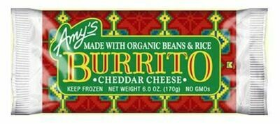 Frozen Burrito, Amy's® Bean & Cheddar Cheese Burrito (6 oz Bag)