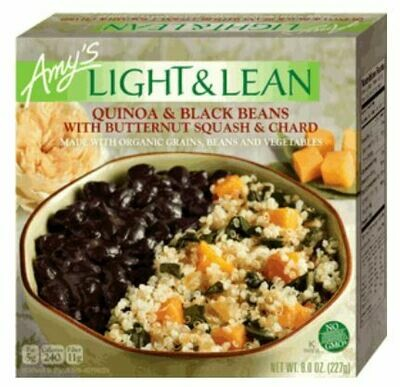 Frozen Pasta, Amy's® Organic, Light & Lean, Quinoa & Black Beans with Butternut Squash & Chard (8 oz Box)