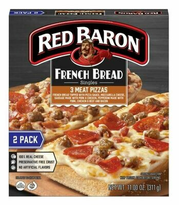 Frozen Pizza, Red Baron® French Bread 3 Meat Pizzas (11 oz Box, 2 Pizzas)