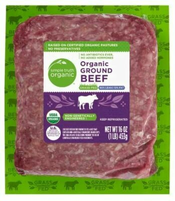 Beef, Simple Truth Organic™ Grass Fed Ground Beef 90% Lean (16 oz Package)