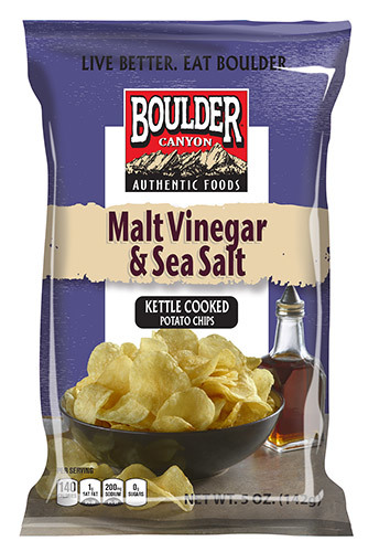 "Potato Chips, Boulder Canyon™ ""Regular Size"" Malt Vinegar & Sea Salt Potato Chips (6.5 oz Bag)"