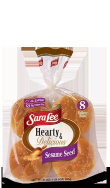 Hamburger Buns, Sara Lee® Hearty & Delicious™ Sesame Seed Hamburger Buns (8 Buns, 21 oz Bag)