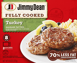 """Fully Cooked Sausage Patties, Jimmy Dean® Sausage Patties """"Turkey"""" (8 Count, 9.6 oz Box)"""
