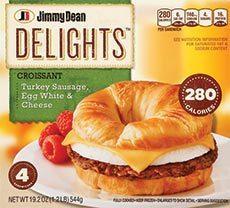Frozen Breakfast Croissant, Jimmy Dean® Delights® Croissant with Turkey Sausage (4 Count, 19.2 oz Box)