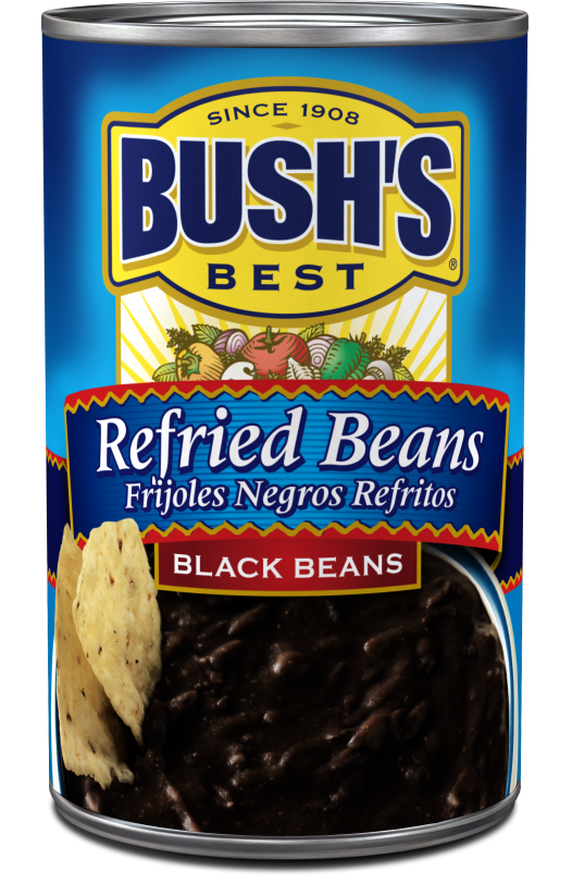 Canned Refried Beans, Bush's® Re-fried Black Beans (16 oz Can)