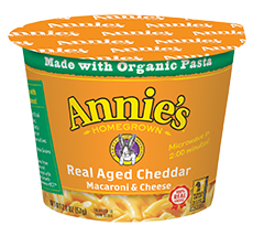 Mac N Cheese Cup, Annie's® Microwavable Real Aged Cheddar Macaroni & Cheese (2.01 oz Cup)
