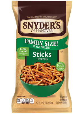 Pretzels, Snyder's® Sticks Pretzels, 16 oz Bag