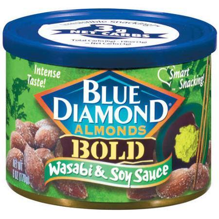 Snack Food, Nuts, Blue Diamond® Almonds, Bold Wasabi & Soy Sauce, 6 oz Can