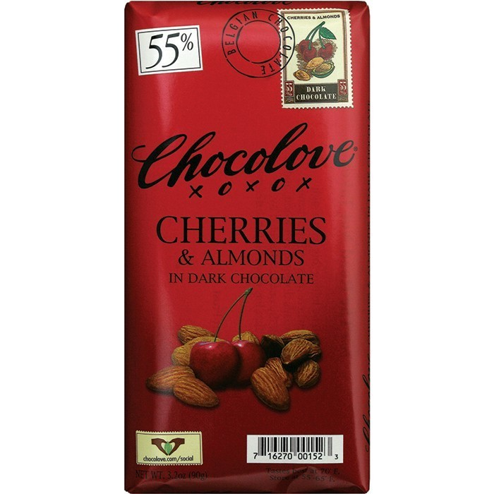 Chocolate Bar, Chocolove XOXOX® Cherries & Almonds in Dark Chocolate (3.2 oz Bar)