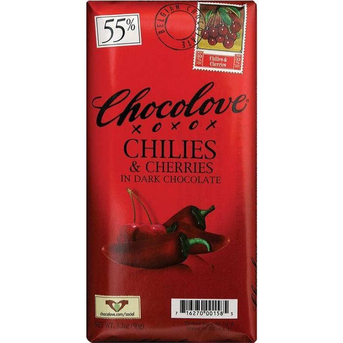 Chocolate Bar, Chocolove XOXOX® Chilis & Cherries in Dark Chocolate (3.2 oz Bar)