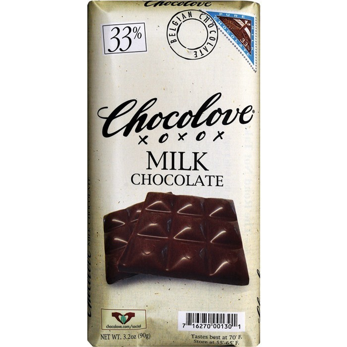 Chocolate Bar, Chocolove XOXOX® Pure Milk Chocolate (3.2 oz Bar)