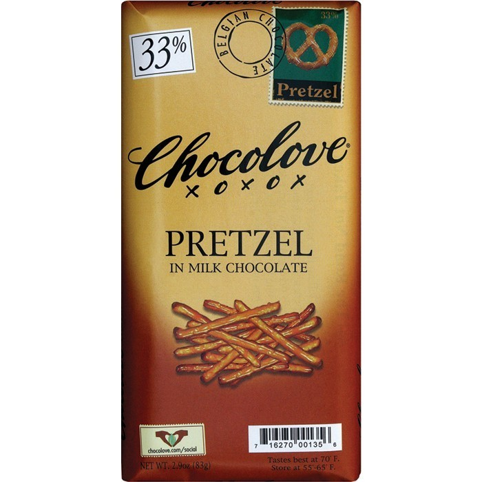Chocolate Bar, Chocolove XOXOX® Pretzel in Milk Chocolate (3.2 oz Bar)