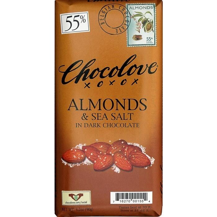 Chocolate Bar, Chocolove XOXOX® Almonds and Sea Salt in Dark Chocolate Bar (3.2 oz Bar)