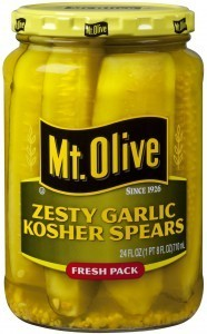 Preserved Pickles, Mt Olive® Zesty Garlic Kosher Spear Pickles (24 oz Jar)