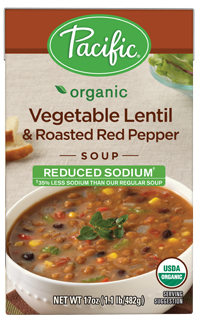 """Boxed Organic Soup, Pacific® Organic """"Low Sodium"""" Vegetable Lentil & Roasted Red Pepper Soup (17 oz Box)"""