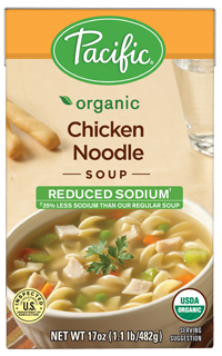 "Boxed Organic Soup, Pacific® Organic ""Reduced Sodium"" Chicken Noodle Soup (17.6 oz Box)"