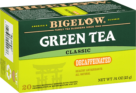 Tea, Bigelow® Green Tea® Decaf, .91 oz Box (20 Bags)