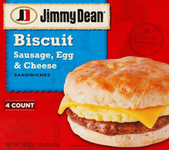 Frozen Breakfast Biscuit, Jimmy Dean® Biscuit with Sausage, Egg & Cheese (4 Count, 18 oz Box)