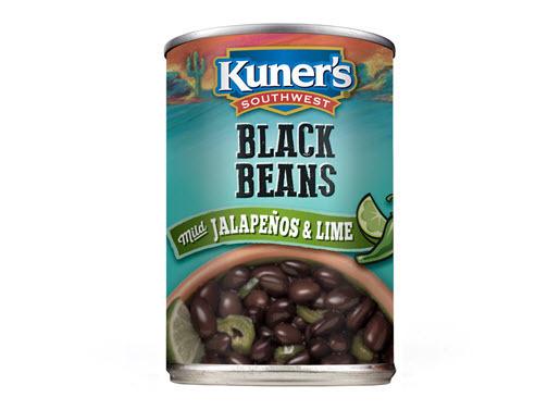 "Canned Beans, Kuner's® No Salt ""Jalapeño with Lime Juice"" Black Beans (15 oz Can)"