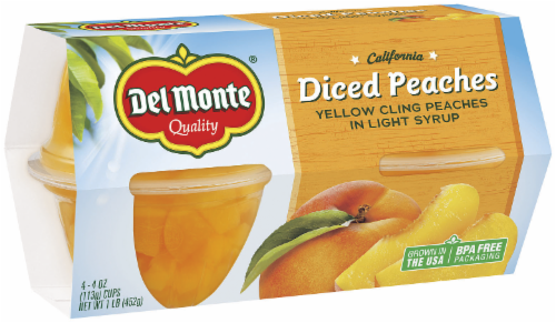 Fruit, Del Monte® Diced Peaches in Light Syrup (4 Cups, 4 oz Cups)