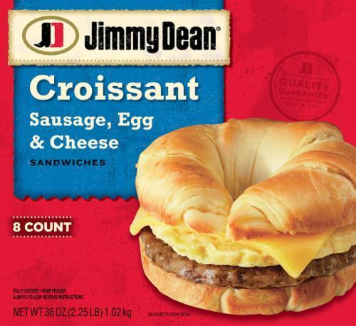 Frozen Breakfast Croissant, Jimmy Dean® Croissant with Sausage, Egg & Cheese (8 Count, 36 oz Box)