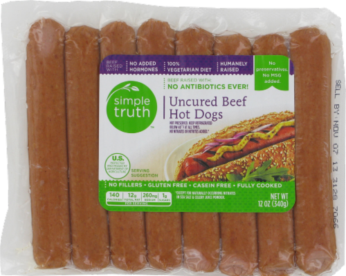 Hot Dogs, Simple Truth™ Uncured Beef Hot Dogs (12 oz Bag, 8 Count)