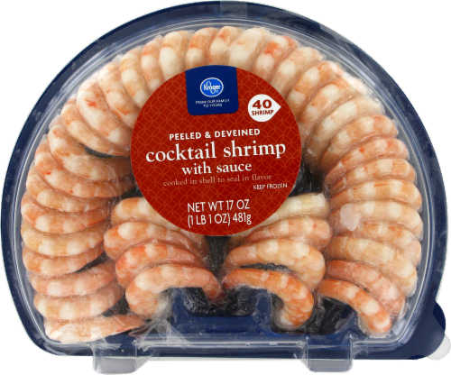 Frozen Shrimp, Kroger® Peeled & Deveined Shrimp with Cocktail Sauce (22 oz Tray)