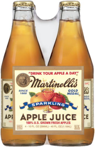 Apple Juice, Martinelli's® 100% Sparkling Apple Juice (4 Bottles, 10 oz Bottle)