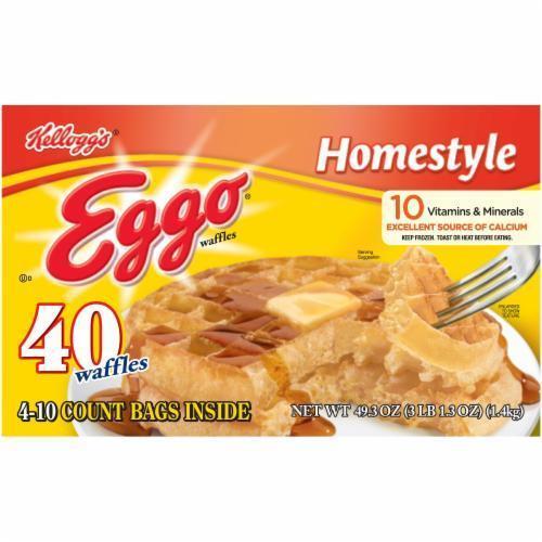 Frozen Waffles, Kellogg's® Eggo® Homestyle® Waffles (40 Count, 49.3 oz Box)