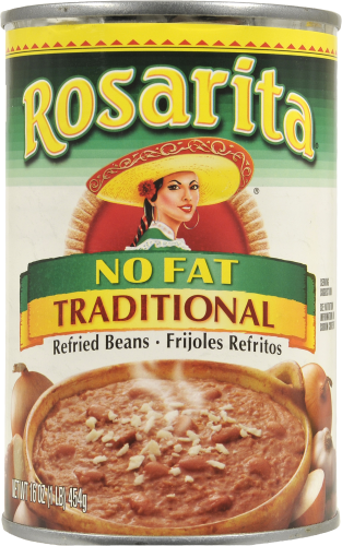 """Canned Refried Beans, Rosarita® """"No Fat Traditional"""" Refried Pinto Beans (16 oz Can)"""