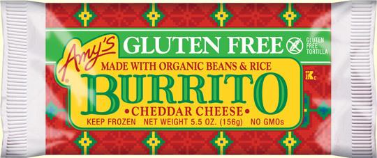 Frozen Burrito, Amy's® Gluten Free Cheddar Burrito (5.5 oz Bag)