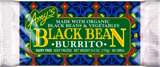 Frozen Burrito, Amy's® Black Bean Vegetable Burrito (6 oz Bag)