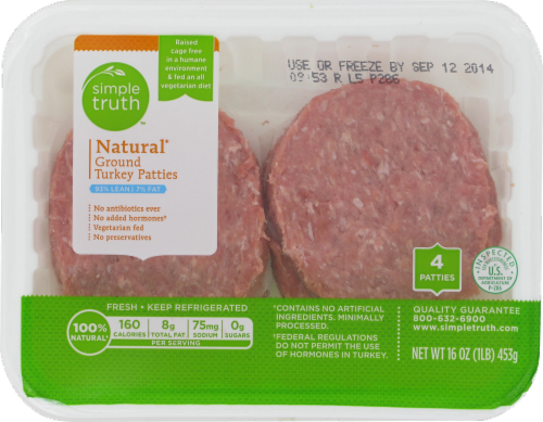 Ground Turkey, Simple Truth™ Natural Ground Turkey Patties 93% Lean (4 Count, 1 lb Tray)