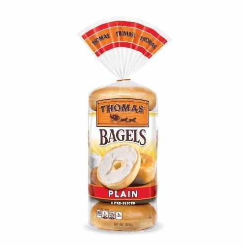 Bagels, Thomas® Plain Bagels (6 Count, 20 oz Bag)