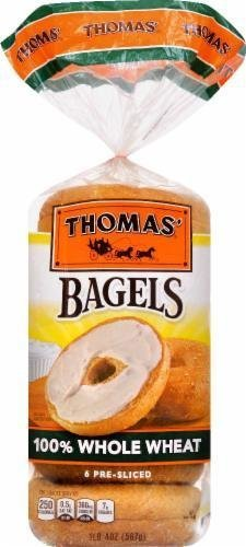 Bagels, Thomas® 100% Whole Wheat  Bagels (6 Count, 20 oz Bag)