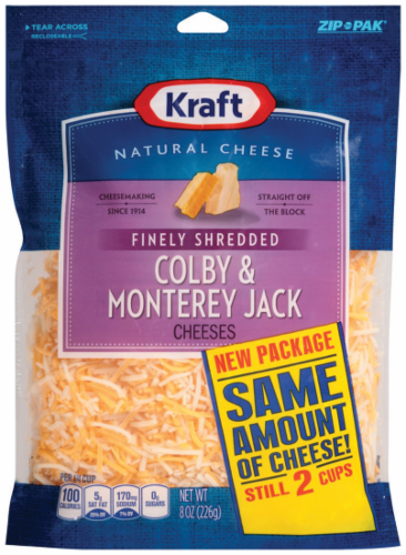 Shredded Cheese, Kraft® Finely Shredded Colby & Monterey Jack Cheese (8 oz Resealable Bag)