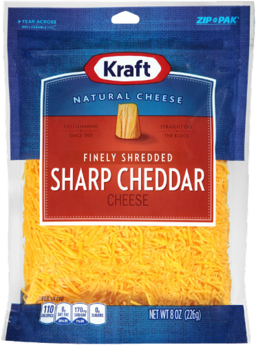 Shredded Cheese, Kraft® Finely Shredded Sharp Cheddar Cheese (8 oz Resealable Bag)
