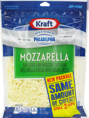 Shredded Cheese, Kraft® Shredded Mozzarella With a Touch of Philadelphia (8 oz Resealable Bag)