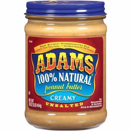Unsalted Peanut Butter, Adams® Unsalted 100% Natural Creamy Peanut Butter (16 oz Jar)