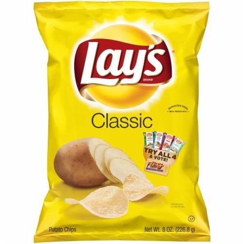 "Potato Chips, Lay's® ""Regular Size"" Classic Potato Chips (8 oz Bag)"