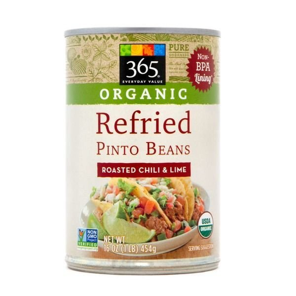 "Canned Refried Beans, 365® Organic ""Roasted Chili & Lime"" Refried Pinto Beans (16 oz Can)"