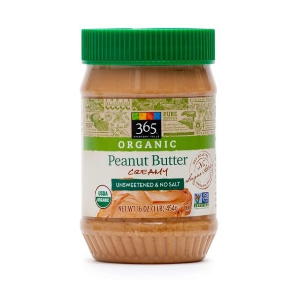 Organic Peanut Butter, 365® Organic Unsalted & Unsweetened Creamy Peanut Butter (16 oz Jar)