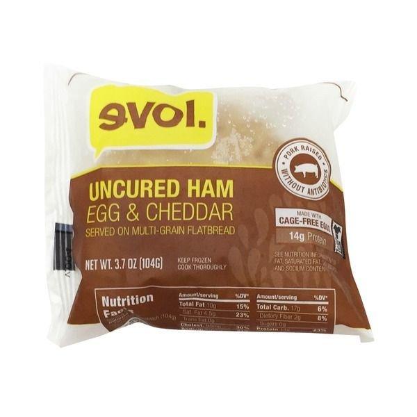Frozen Breakfast Sandwich, Evol® Uncured Ham, Egg & Cheddar Flatbread Sandwich (4 oz Bag)