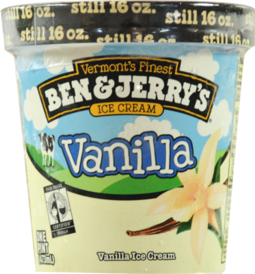 Ice Cream, Ben & Jerry's® Vanilla Ice Cream (1 Pint, 16 oz Cup)