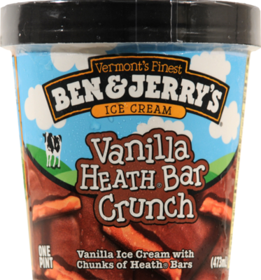 Ice Cream, Ben & Jerry's® Vanilla Heath Bar Crunch Ice Cream (1 Pint, 16 oz Cup)