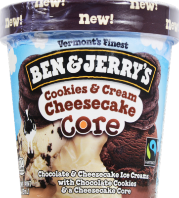 Ice Cream, Ben & Jerry's® Cookies & Cream Cheesecake Core Ice Cream(1 Pint, 16 oz Cup)