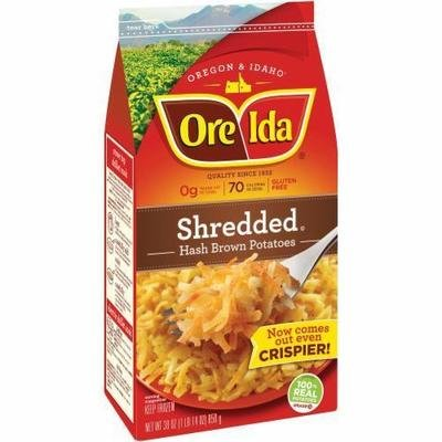 Frozen Potatoes, Ore-Ida® Shredded Hash Browns (30 oz Bag)