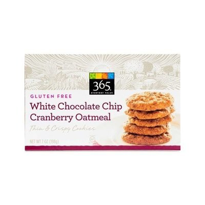 Cookies, 365® Gluten Free White Chocolate Chip Cranberry Oatmeal Cookies (7 oz Box)
