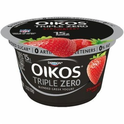 Yogurt, Dannon® Oikos® Triple Zero Strawberry Yogurt (5.3 oz Cup)