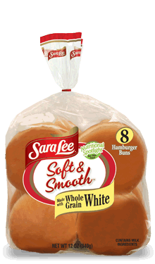 Hamburger Buns, Sara Lee® Soft & Smooth™ White Hamburger Buns (8 Buns, 21 oz Bag)